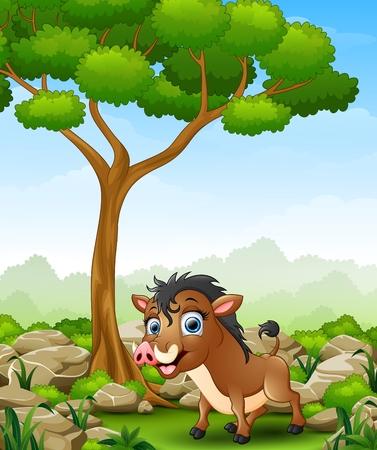 Cartoon warthog in the jungle