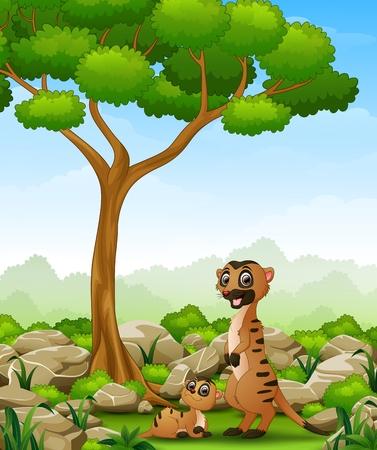 meerkat: Cartoon mother meerkat with her little baby in the jungle Illustration