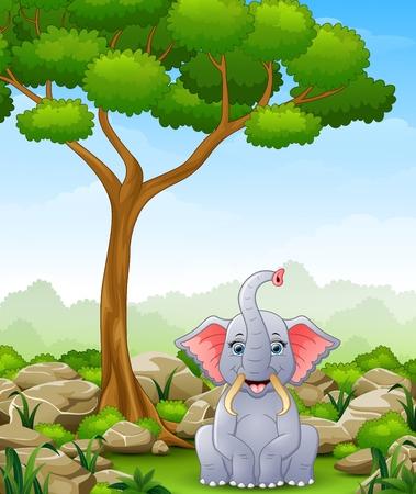 Cartoon elephant sitting in the jungle Illustration