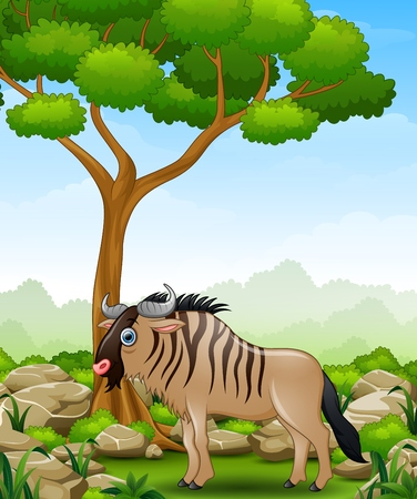 Cartoon wildebeest mascot in the jungle