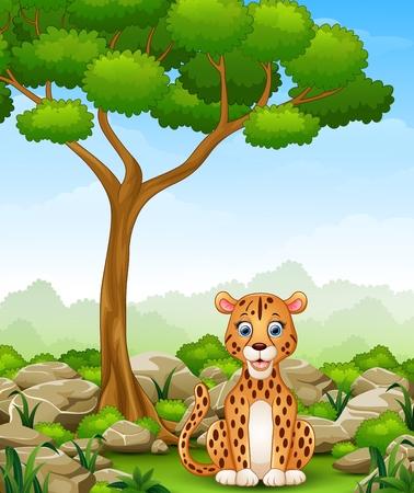 Cartoon leopard sitting in the jungle