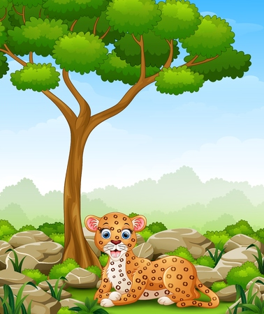 Cartoon leopard lay down in the jungle