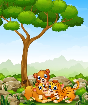 Happy wild animal cartoon in the jungle