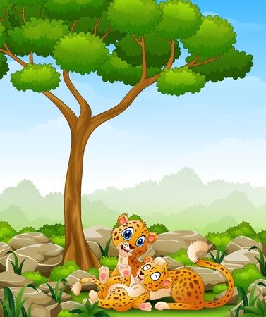 cheetah cub: Cartoon adult cheetah with cub cheetah in the jungle Illustration