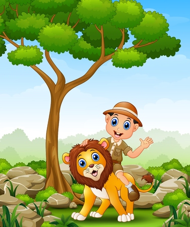 Cartoon zoo keeper man in the jungle