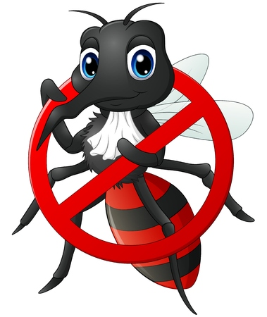 stop mosquito: Stop Mosquito cartoon Stock Photo