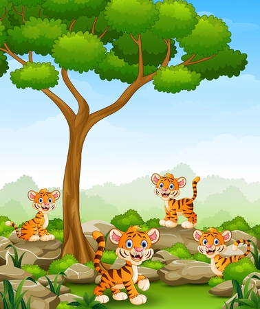 Cartoon tiger group in the jungle