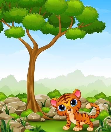 tigre bebe: Cartoon baby tiger in the jungle Vectores