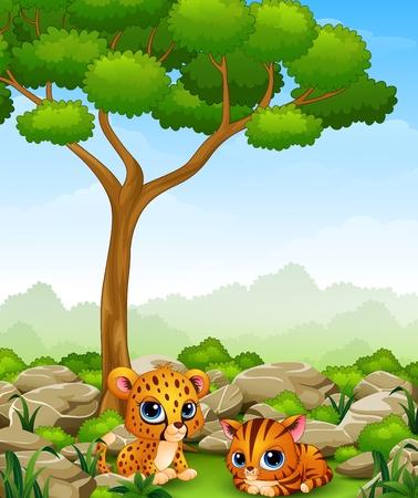 cheetah cub: Cartoon baby cheetah with kitten lay down in the jungle Illustration
