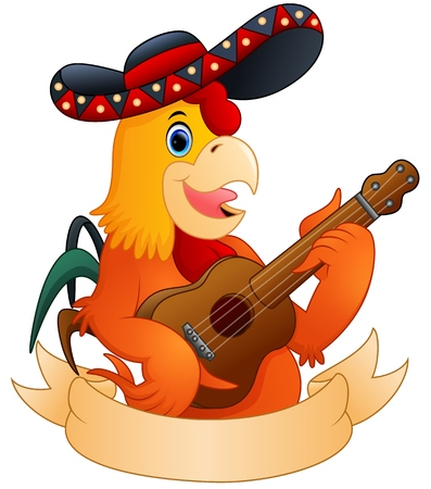 Cartoon rooster playing guitar Stock Photo