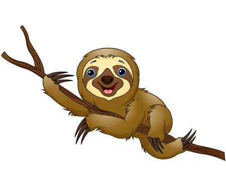 Cartoon sloth on a tree branch Illusztráció