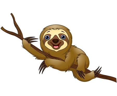 Cartoon sloth on a tree branch Stock Illustratie