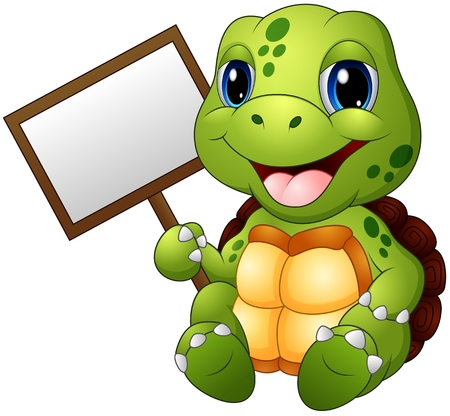 Cartoon turtle holding blank sign