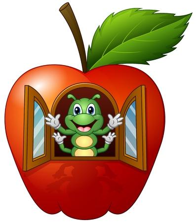 Cartoon caterpillar in the apple house