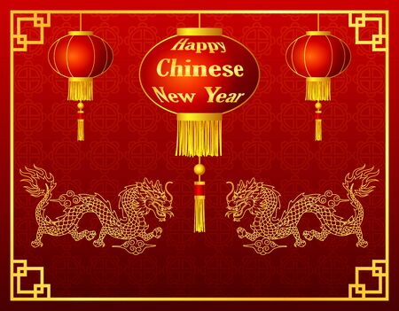 chinese new year dragon: Happy chinese new year with lantern and golden dragon