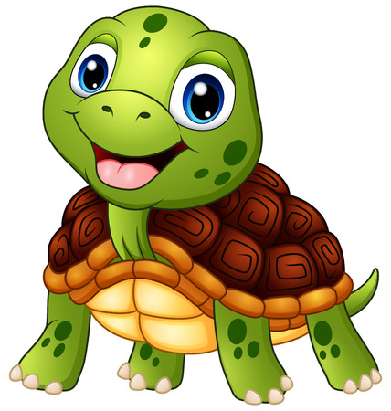 Cute turtle cartoon smiling Ilustrace