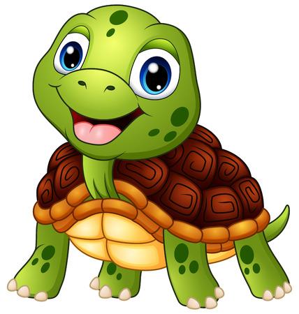 Cute turtle cartoon smiling Stock Illustratie