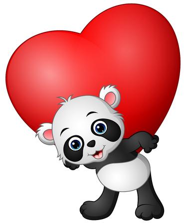 Cartoon panda hold red heart