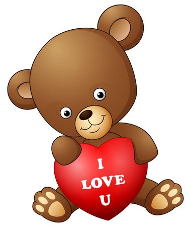 Cartoon teddy bear holding red heart