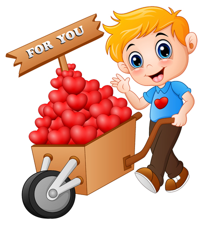 Cartoon boy pushing a pile of hearts in wood trolley for you Stock Photo