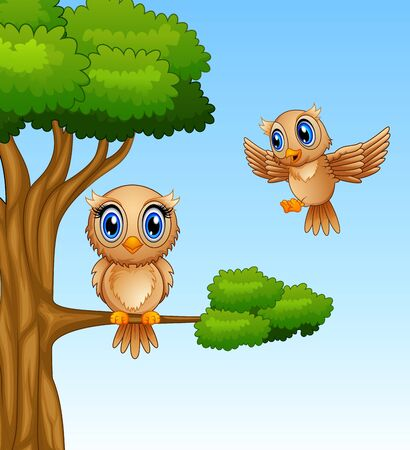 elongated: Cute owl cartoon on a tree branch Stock Photo
