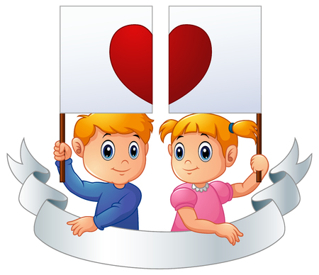 Cartoon kids together holding heart signpost and silver ribbon Stock Photo
