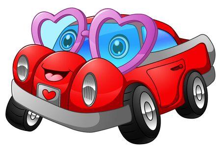 car: Cartoon car in love