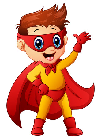 Vector illustration of Superhero boy waving hand Illustration