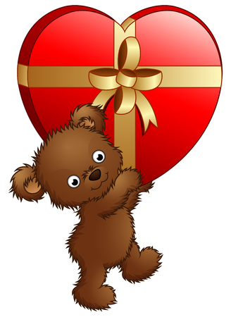 illustration of Teddy bear carrying big gift of red heart