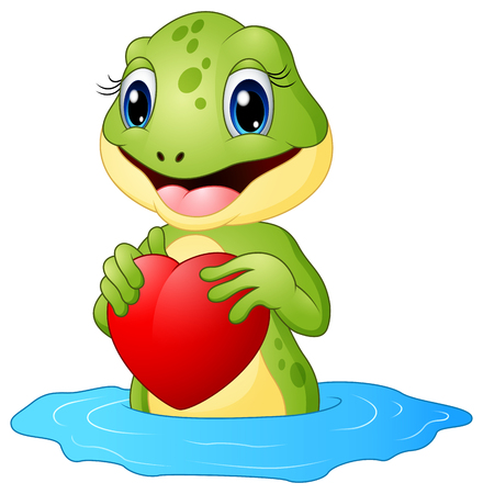illustration of Cartoon frog holding a heart