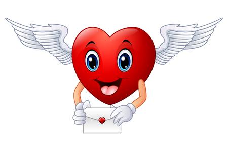 illustration of Cartoon heart holding an envelope