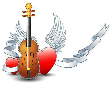 illustration of Acoustic guitar with winged heart and silver ribbon