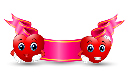 celebration smiley: illustration of Two red smiling cartoon hearts with color ribbon pink on white background Illustration