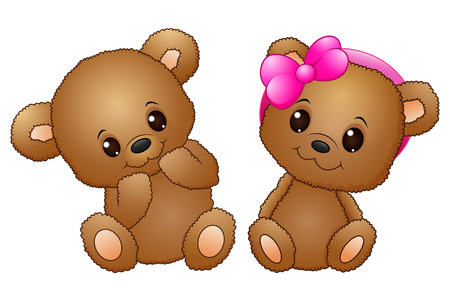 illustration of Cute couple with a teddy bear wearing a pink bow