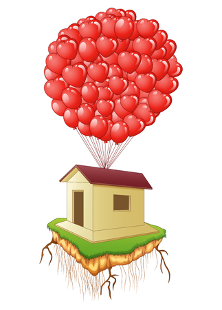 anniversary sale: illustration of Cute flying house with red heart balloons Illustration