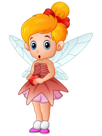 miracles: Cute little love fairy holding a heart
