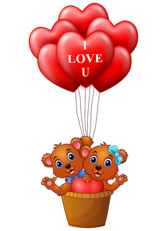 Cartoon bear in a basket with red heart shape balloon Illustration