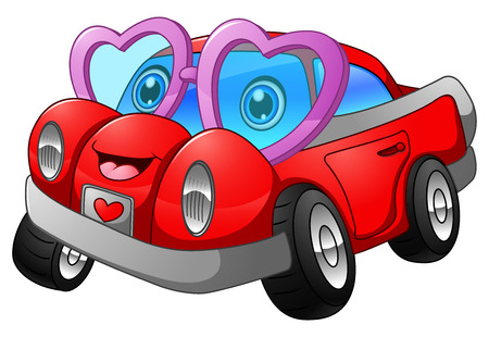 illustration of Cartoon car in love 矢量图像