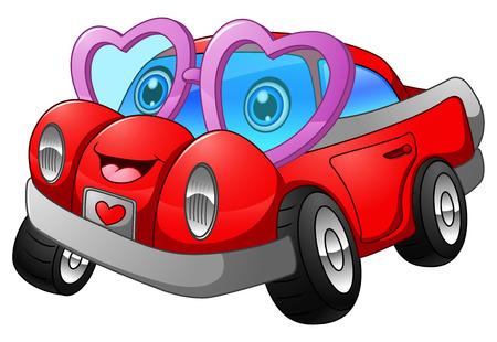 illustration of Cartoon car in love Illustration