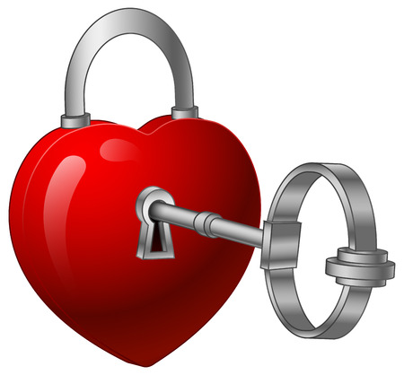 illustration of Unlock heart with a silver key
