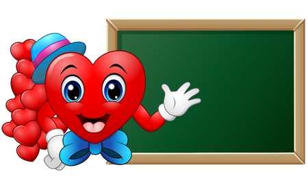 doctor holding gift: illustration of Cartoon character heart teacher in front of blank blackboard Illustration