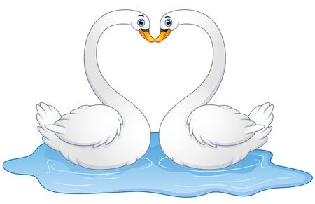 illustration of Cartoon couple swans lover kissing