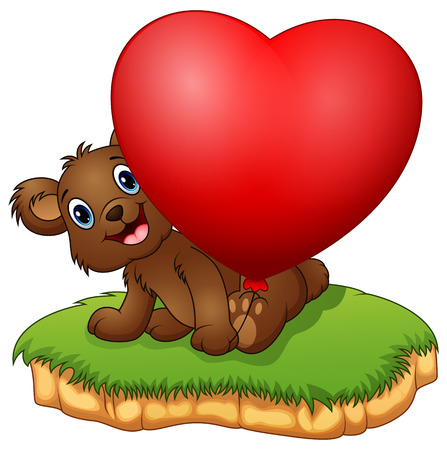 illustration of Teddy bear sitting with holding the valentine balloons Illustration