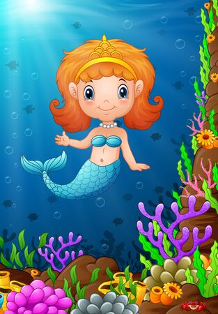 Cartoon funny little mermaid under the sea Stock Photo
