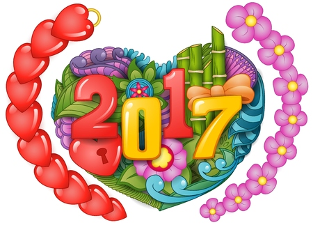 Cartoon doodles hand drawn 2017 year with symbol and new year theme items form heart