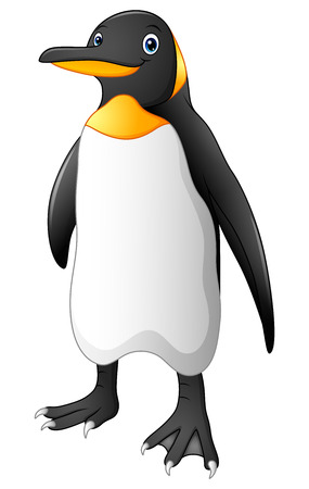 Cartoon funny emperor penguin standing