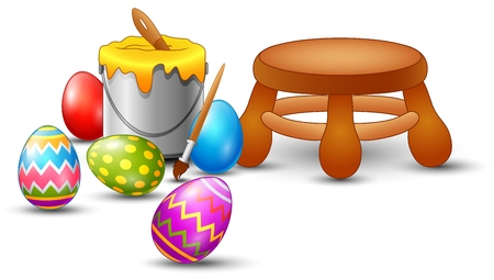 Easter eggs painting set Stock Photo