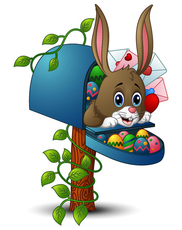 Illustration of Easter bunny with easter eggs and the mailbox Illustration