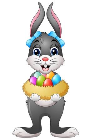 Illustration of Easter bunny holding easter eggs in nest Illustration