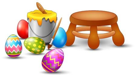 Illustration of Easter eggs painting set